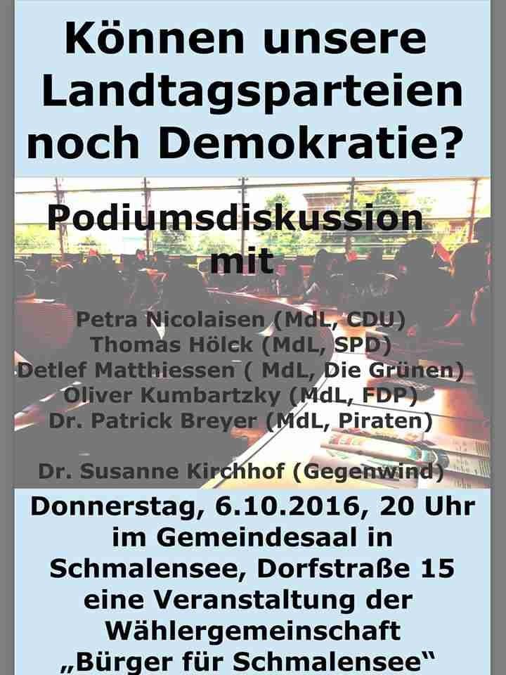 Mitglieder des Landtages Schleswig Holstein stellen sich der Frage