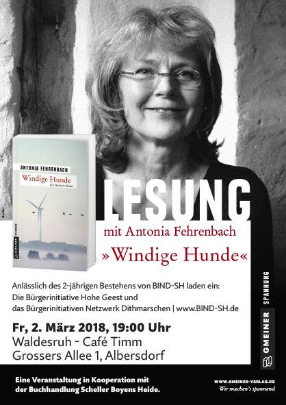Lesung:  Windige Hunde  Ein Schleswig-Holstein Krimi von Antonia Fehrenbach