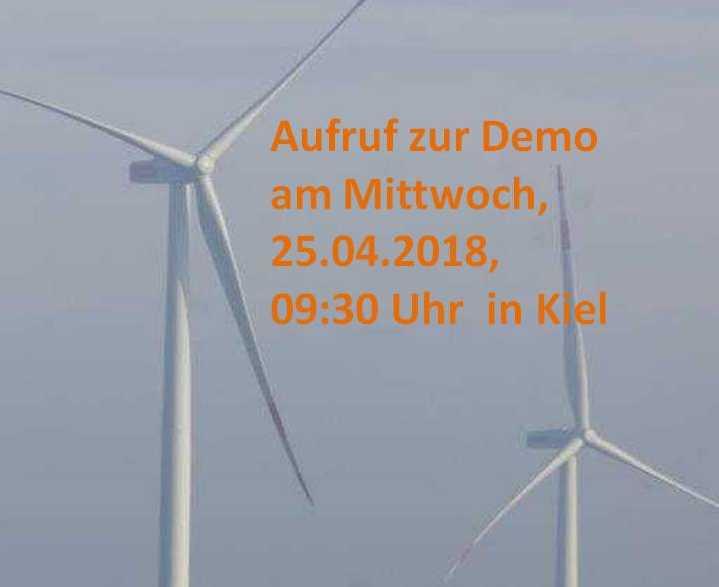 Aufruf zur Demo  am Mittwoch, 25.04.2018, 09:30 Uhr in Kiel