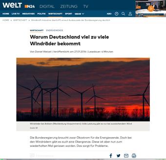 Viel zuviel Windkraftanlagen in Deutschland